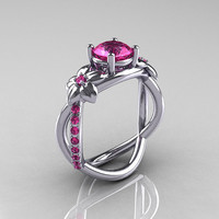 Nature Classic 18K White Gold 1.0 CT Pink Sapphire Leaf and Vine Engagement Ring R180-18WGPSS