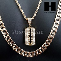 "MEN ICED OUT GOLD BARBER RAZOR BLADE CHARM CUT 30"" CUBAN LINK CHAIN NECKLACE S87"