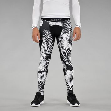 Tropical Black White Tights for men