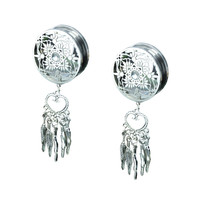Stainless Steel Dream Catcher Ear Plugs 1Pair
