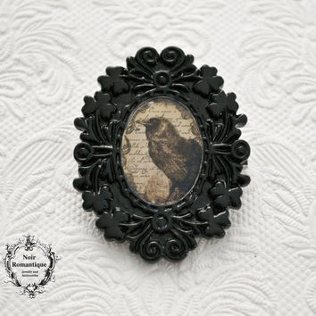 The raven Halloween Black Gothic Brooch-Gothic Accessories-Gothic Brooch-Black Brooch-Halloween-raven brooch