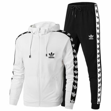 ADIDAS Clover 2018 autumn and winter couple sports suit hooded cardigan sweater coat two-piece White