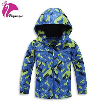 Children Boys Outwear Coats New 2017 Spring Fashion Waterproof Windproof Hooded Jackets For 4-13y Boys Brand Kids Sport Clothes