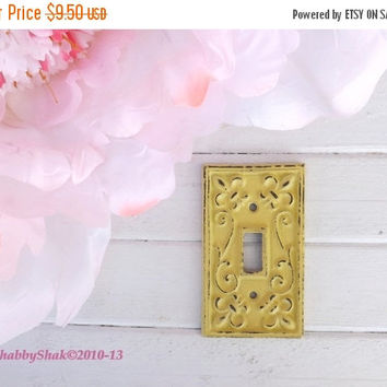 NEW YEARS SALE Yellow  Light Switch Cover/ Shabby Chic Light Plate Cover / Single Cast Iron Light Plate Cover / Wall Decor / Fleur de lis Pa