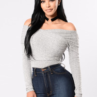 Pretty Little Thing Bodysuit - Heather Grey