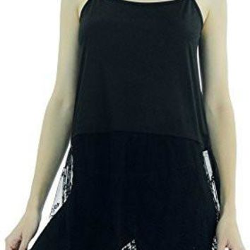 Women's Cotton Top Extender Camisole Layering Top with Lace Sheer Bottom