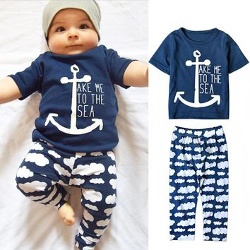Marine Navy Sailor Baby Boys Clothes Sets 2017 Short Sleeve Letter Printing T Shirt+Long Pants 2 Pcs Newborn Boy Clothing set