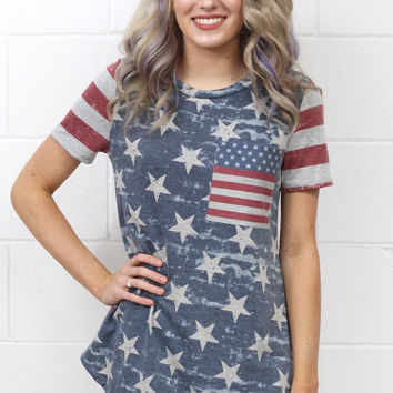 Stars + Stripes Forever Short Sleeve Tee {H.Grey Mix}