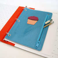 Cupcake - Vinyl Pencil Pouch for Three Ring Binder in turquoise blue sparkle vinyl / orange gingham oilcloth