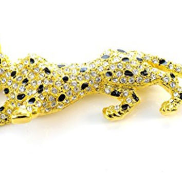 Gold Tone Panther with Crystals Pin Brooch Ctp-002