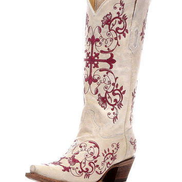 Corral Women's Bone/Metallic Wine Floral Cross Embroidery Boot - A2631