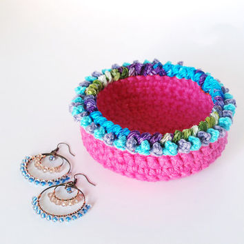 Crochet basket, boho decor, pink crochet bowl, ring dish, soft jewelry storage, woven basket, gypsy decor, Spring decor, gifts for her