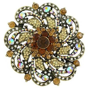 *[BRC]-Round Rhinestone & Gems Brooch- Brown
