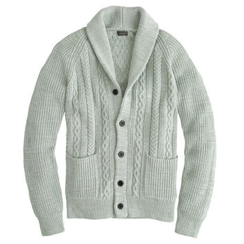 J.Crew Mens Textured Cotton Shawl-Collar Cardigan Sweater