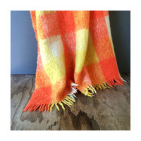 Wool Mohair Blanket - Cree Mills Mohair Blanket - Orange and Yellow