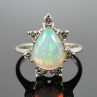 Fantastic Pear Cut Opal, Mid Century White Gold and Diamond Cocktail Ring RGOP112P