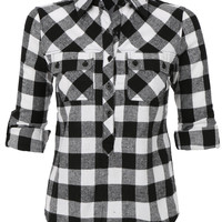 LE3NO Womens Casual Flannel Cotton Plaid Pull-On Button Down Shirt