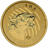 2015 Canadian 1oz Gold Growling Cougar .99999 Fine in Assay BU