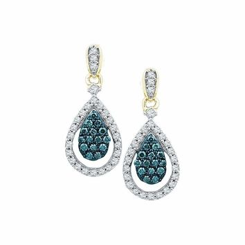 10kt Yellow Gold Women's Round Blue Color Enhanced Diamond Teardrop Dangle Earrings 5-8 Cttw - FREE Shipping (USA/CAN)