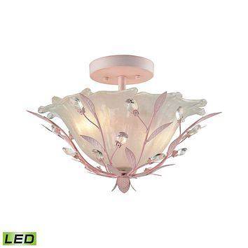 Circeo 2-Light Semi Flush in Light Pink with Frosted Hand-formed Glass - Includes LED Bulbs