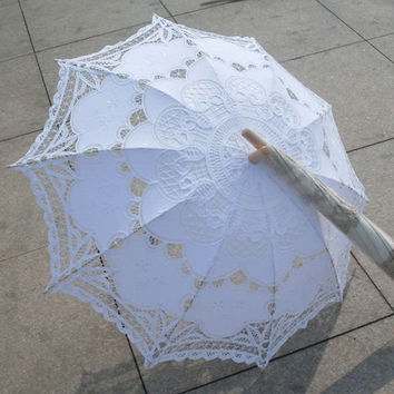 New Lace Umbrella Cotton Embroidery White Battenburg Lace Parasol Umbrella Wedding Umbrella Decorations Free Shipping QAZ268