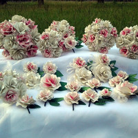 20 Piece Custom Paper Flower Wedding Bouquet Set. Purchase the Set or Only What You Need