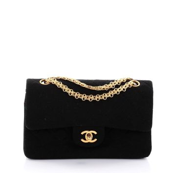 Chanel Vintage Bijoux Chain Double Flap Bag Quilted Jersey Medium