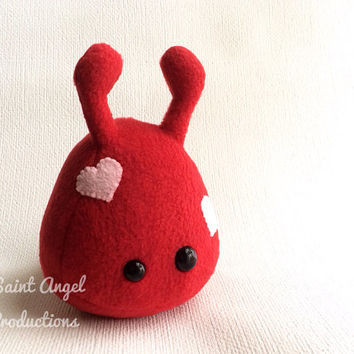 Red Stuffed Alien Plush with Pink Hearts, Small Valentine Love Plushie, READY TO SHIP