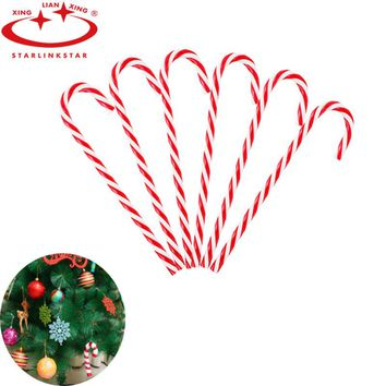 6Pcs/lot Xmas Candy Cane Ornaments Christmas Tree Pendant Plastic Hanging Decoration For Festival Party Christmas Decor For Home