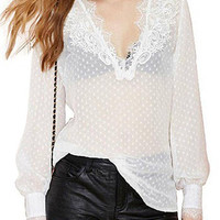 White Lacy V Neck Dot Blouse