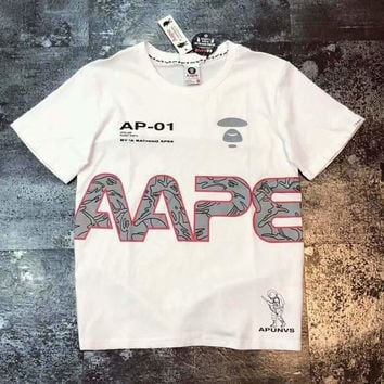 AAPE 2018 trendy male and female models reflective couple short sleeve F-Great Me Store White