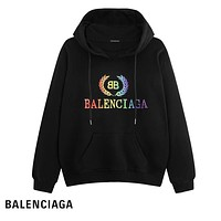 Balenciaga fashion colorful embroidery logo picture pure cotton loop hoodies hot selling casual couple hoodies Black