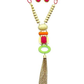 Fuchsia Neon Chain Tassel Pendant Necklace And Earring Set