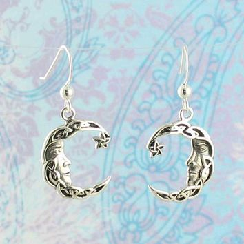 Celtic Knot Moon Face Earrings