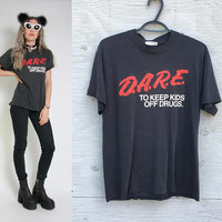 80s Vintage Dare T-Shirt - Paper Thin - D.A.R.E to keep kids off drugs - 80s Clothing - 80s Tee - Black Shirt - Grunge Goth 50/50