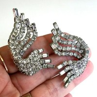 Vtg 1950s Clear Rhinestone Ear Climber Clip Earrings