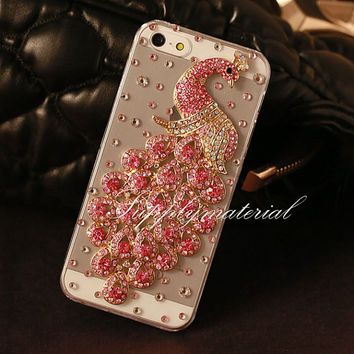 "Fashion Crystal Peacock cell phone case for iPhone 4 4S or iphone 5 5S 5C or iPhone 6 (4.7"")/6 plus cover"