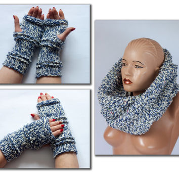 Chunky Scarf and Fingerless gloves, Set of knit, Arm warmers women's hand and head, Loveknitting