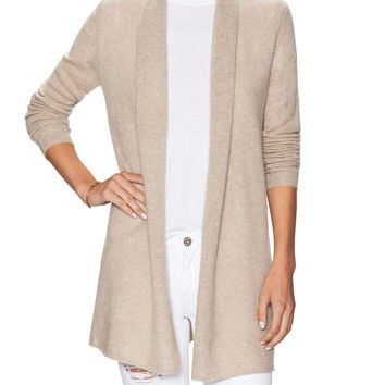 Wythe NY Women's Cashmere Open Front Shawl Cardigan - Cream/Tan -