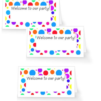 Colorful Birthday Party Place Cards