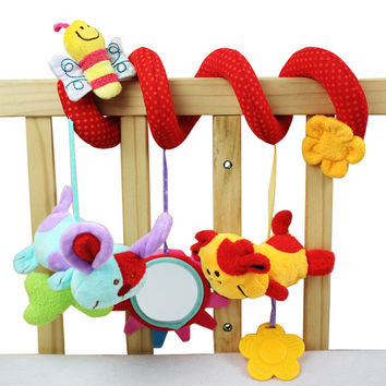 Hot Sale Animal Plush Toy Super Soft Baby Rattles Toy Multifunctional Bed Crib Hangings FCI#