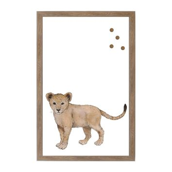 Baby Jungle Animals Lion Rustic Brown Frame
