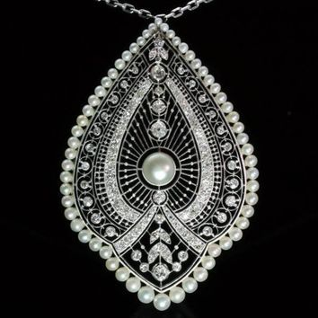 Edwardian pearls diamonds pendant peacock