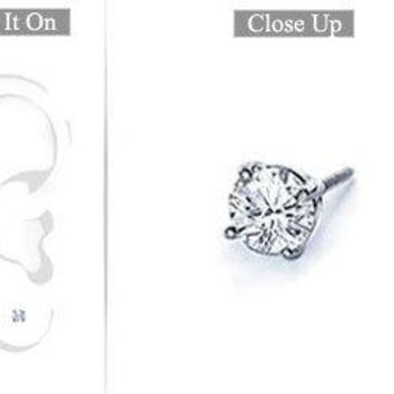 Mens Platinum : Round Diamond Stud Earring - 0.15 CT. TW.