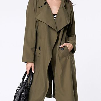 Casual Lapel Removable Tie Pocket Vented Wrap Trench Coat