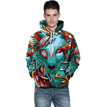 Cloudstyle 2018 Animal 3D Hoodies Men Mechanical Wolf 3D Print Hoody Sweatshirts Fashion Pullovers Plus Size 5XL Tracksuits