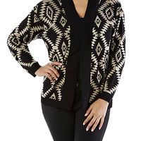Plus-Size Aztec Cardigan - Rainbow