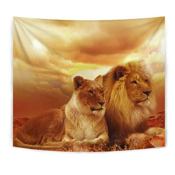 Lion & Lioness Wall Tapestry