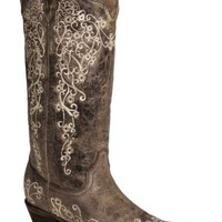 Corral Brown Crater with Bone Embroidery Cowgirl Boots - Snip Toe - Sheplers