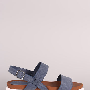 Bamboo Denim Double Band Lug Sole Flatform Sandal